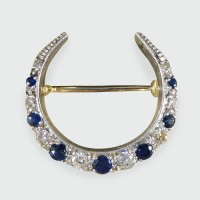 Edwardian Sapphire and Diamond Crescent Brooch in 14ct Gold