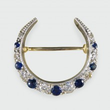 SOLD Edwardian Sapphire and Diamond Crescent Brooch in 14ct Gold