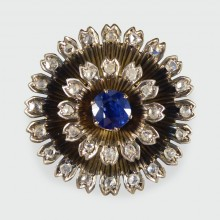 SOLD Antique Early Victorian Sapphire and Diamond Cluster Brooch in 14ct Yellow Gold and Silver