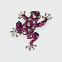 Contemporary Ruby and Diamond Adorned Frog Brooch or Pendant in 18ct White Gold