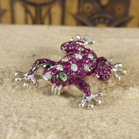 SOLD Contemporary Ruby and Diamond Adorned Frog Brooch or Pendant in 18ct White Gold