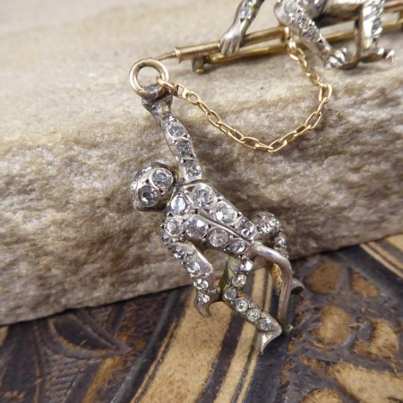 Edwardian Novelty Hanging Paste set Monkeys in 9ct Gold and Silver
