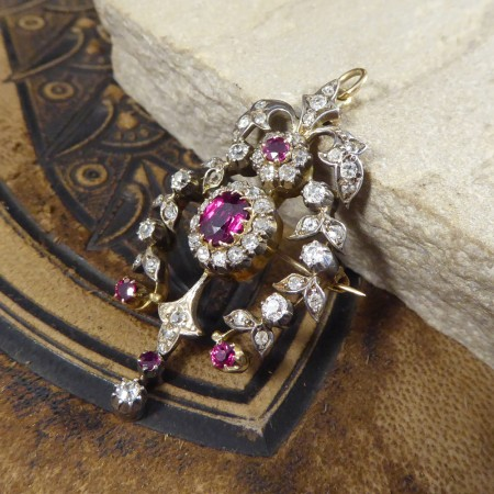 Antique Late Victorian Ruby and Diamond Brooch and Pendant with Gold Back and Silver Front