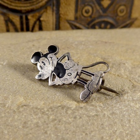 SOLD Rare Mickey Mouse Silver and Enamel Brooches Set by Charles Horner in Box
