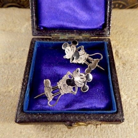 Rare Mickey Mouse Silver and Enamel Brooches Set by Charles Horner in Box