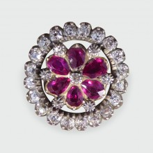 SOLD Georgian Ruby and Diamond Floral Brooch in Gold and Silver