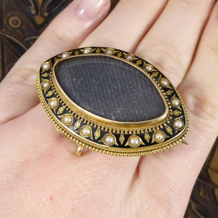 Antique Victorian Engraved Mourning Brooch with Black Enamel and Pearl Detailing