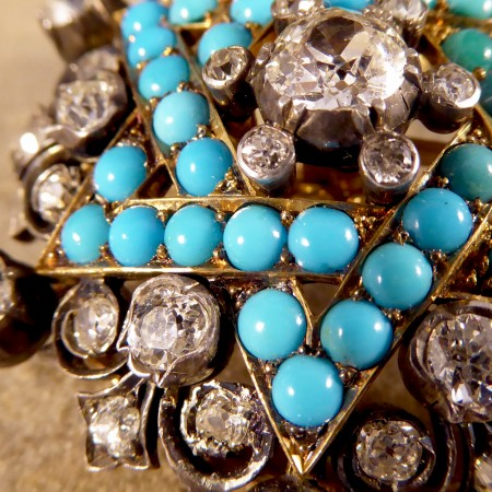 SOLD Antique Victorian Diamond and Turquoise Brooch in Gold and Silver