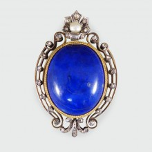 Antique Late Victorian Lapis Lazuli Brooch Pendant set with Diamonds and a Natural Pearl