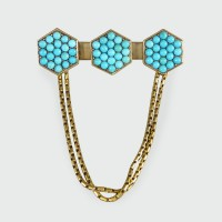 Antique Late Victorian Turquoise set Brooch with Chains in 15ct Yellow Gold