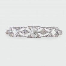 Art Deco 1.00ct Pear Shaped Diamond Brooch in Platinum