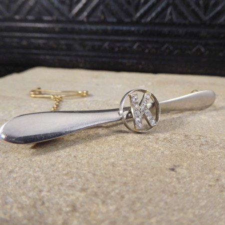 Art Deco Diamond set Initialled Airplane Propeller Brooch in 18ct Gold