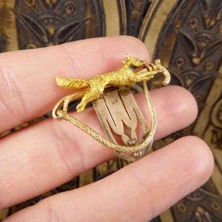 Late Victorian 15ct Yellow Gold Fox Brooch with 9ct Yellow Gold Clip