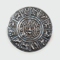 Vintage Mexican Silver Detailed Zodiac Brooch and Pendant