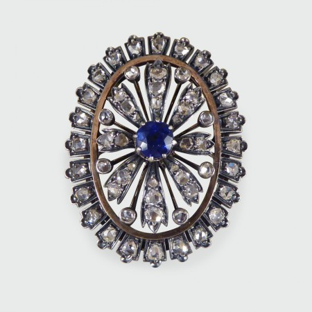Antique Late Victorian Sapphire and Diamond Cluster Brooch Gold Backed and Silver Fronted