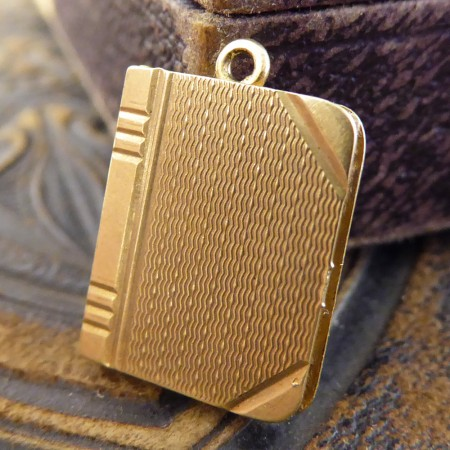 SOLD Vintage Notebook Locket Charm with original picture set in 9ct Gold, London c1959
