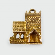 SOLD Vintage Church Charm revealing a couple on their special day getting married in 9ct Gold