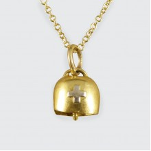 SOLD 1930's 15ct Yellow and White Gold Swiss Cow Bell Charm