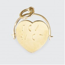 1970's I LOVE YOU Heart Spinner Charm Pendant in 9ct Yellow Gold
