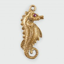 SOLD Vintage Seahorse Charm with a Ruby Eye in 9ct Gold c1957