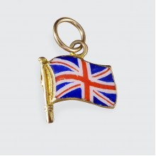 SOLD 1920's Union Jack Enamel Flag Charm in 9ct Yellow Gold
