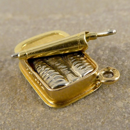 Vintage portugese sardine can charm in gold Empty sardine cans