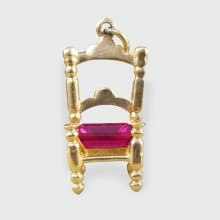 Vintage 9ct Yellow Gold Chair Charm with Red Paste Stone