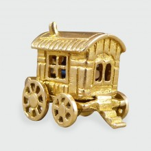 SOLD Vintage Fortune Teller Gypsy Caravan Charm Created in 9ct Gold