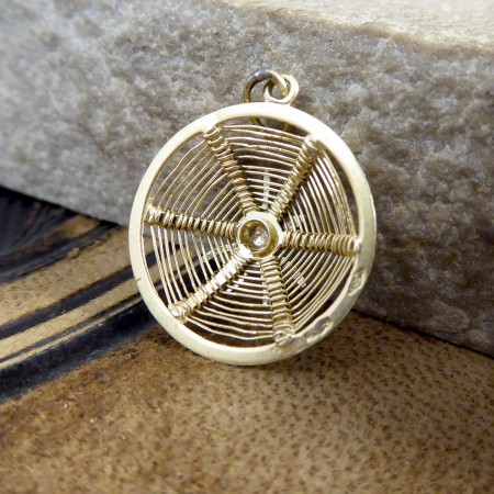 Vintage 18ct White and Yellow Gold Spiders Web Charm Pendant