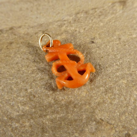 SOLD Antique Victorian Coral Anchor Charm with Modern 9ct Gold Loop