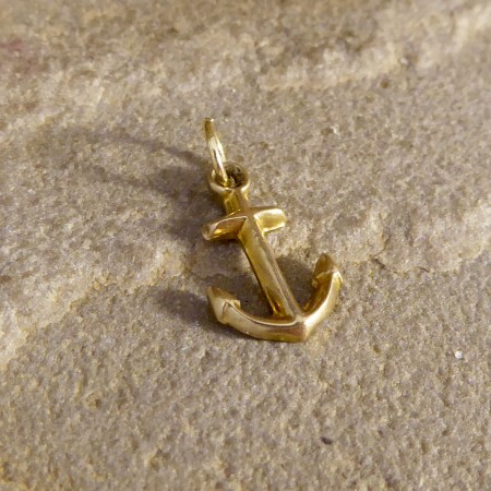 Vintage Anchor 9ct Yellow Gold Charm Pendant