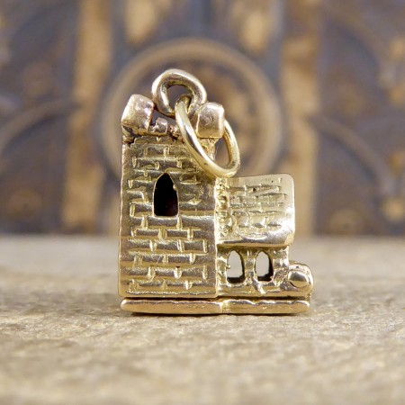 Vintage Opening Church Wedding Scene Charm in 9ct Yellow Gold