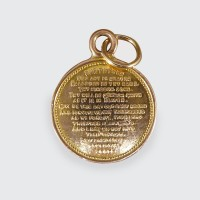 SOLD Circular 9ct Yellow Gold Lords Prayer Charm C1930s