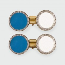 Edwardian Circular Cufflinks with Rose Cut Diamonds and Blue Enamel in 18ct Gold