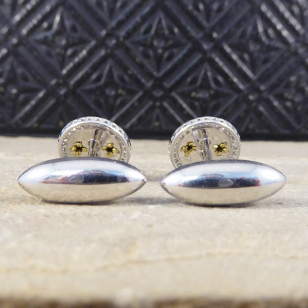 Green Enamel Cufflinks with a Diamond Halo in 18ct White Gold