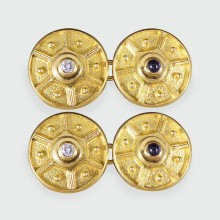 SOLD Vintage 18ct Yellow Gold Cufflinks with Diamond and Cabochon Sapphire Centres