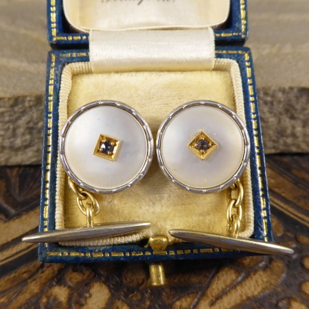 Mother of Pearl and Sapphire Edwardian Cufflinks in 18ct Gold