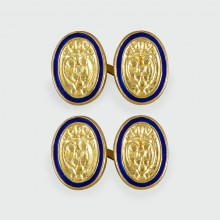 SOLD Vintage Crested Cufflinks With Blue Enamel Halo in 18ct Yellow Gold