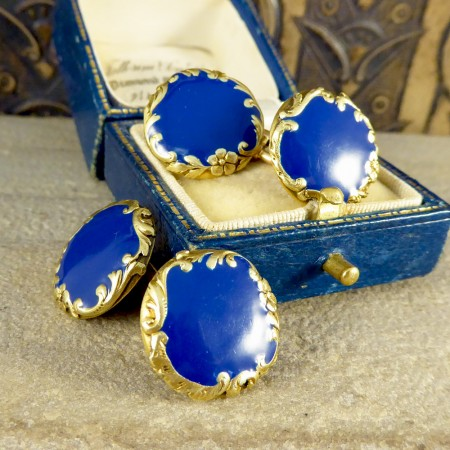 Quality Victorian Blue Enamel Cufflinks in 18ct Yellow Gold