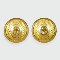 Circular 18ct Yellow Gold Cufflinks with Yellow Sapphire Centres