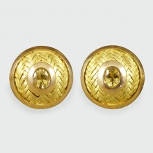 SOLD Circular 18ct Yellow Gold Cufflinks with Yellow Sapphire Centres