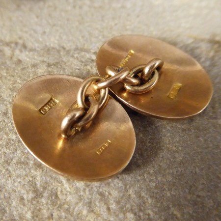9ct Yellow Gold Plain Ovaled Cufflinks c1921