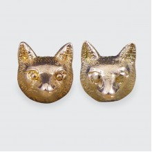Vintage 9ct Rose Gold Fox Head Earrings