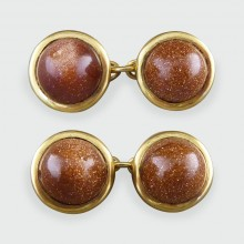 Antique Edwardian Goldstone Cufflinks in 18ct Gold