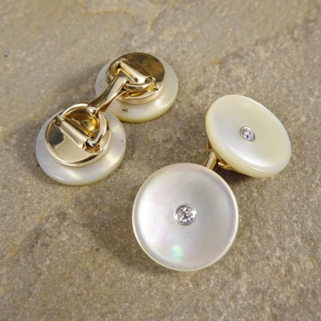 Vintage Mother of Pearl Cufflinks set with Diamonds in 14ct Gold