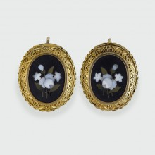 SOLD Late Victorian Pietra Dura Earrings modelled in 15ct Gold