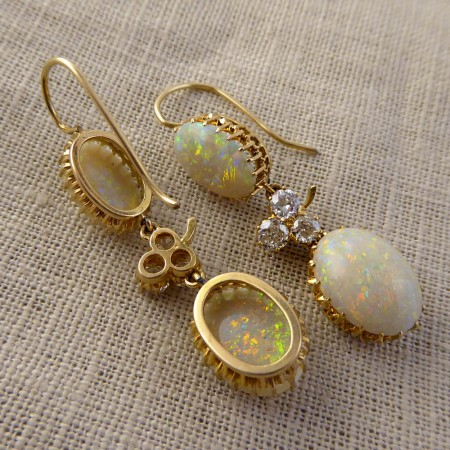 SOLD Edwardian Opal and Diamond Drop Earrings modeled in 18ct Gold