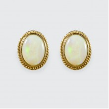 SOLD Vintage Oval Opal Collar Set Earrings in 9ct Yellow Gold