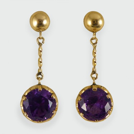 Sold Vintage Synthetic Alexandrite And Gold Drop Earrings
