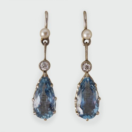 Sold 1930s Aquamarine Pearl And Diamond Drop Earrings In 18ct White Gold